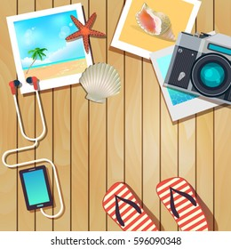 vector background template for summer vacation with photos of travel