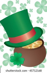 Vector background with Top Hat and four-leafed clover for St. Patrick`s day