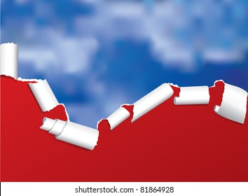 vector background with torn paper over cloudy sky