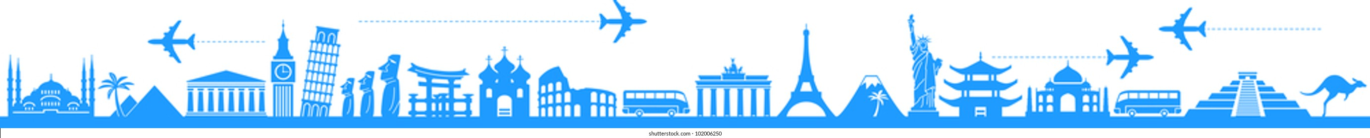 vector background travel, vacation, famous places