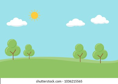 Vector background of trees in the park with sun, cloud, blue sky