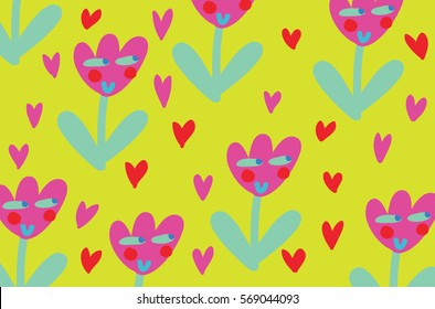 Vector background of tulips with smiley faces
