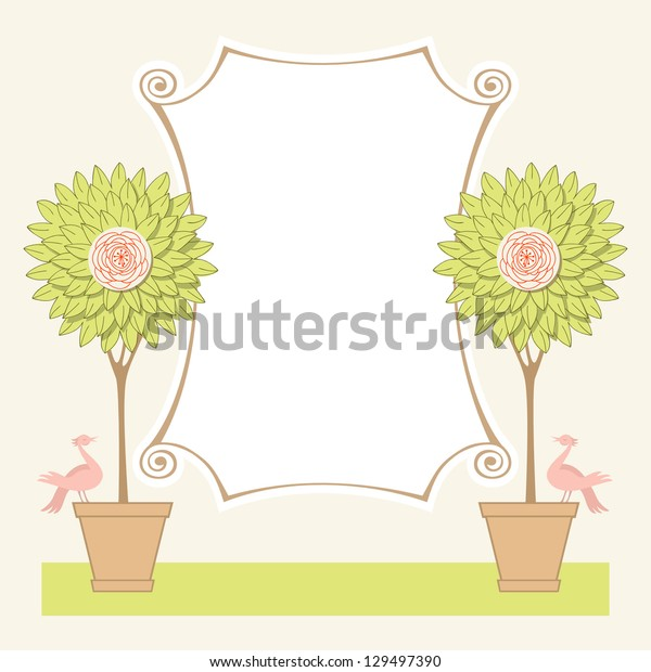 Vector background with two blooming topiary trees, couple of birds and banner of roll of paper. Greeting card for garden party and wedding with text box. Abstract illustration for print and web