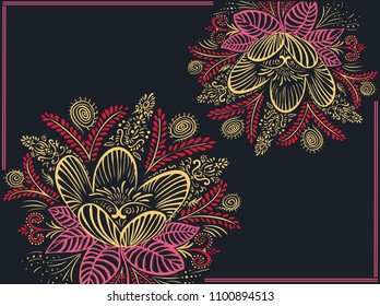 Vector background with two flowers