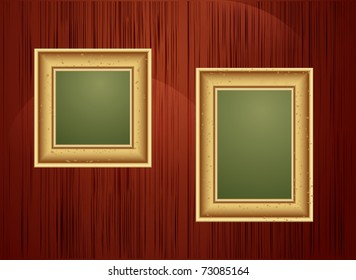 vector background with two gold frames