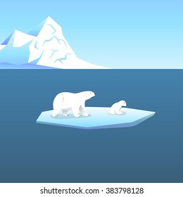 Vector background with two polar bears, she-bear and teddy bear standing on stylized glacier in the open sea. Cold climate.
