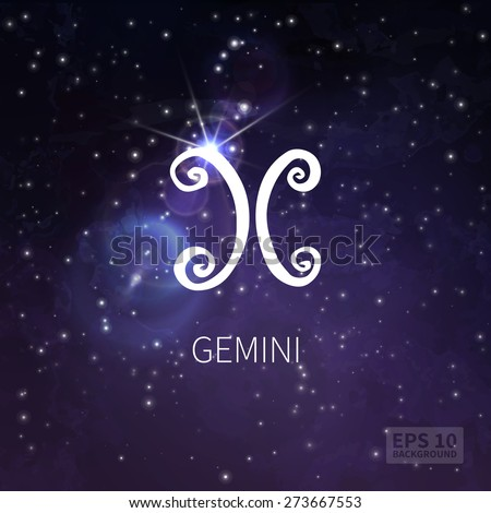 Vector background universe (texture). Gemini zodiac. Stars and sky