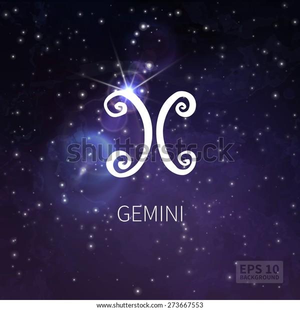 Vector background universe (texture). Gemini zodiac. Stars and sky