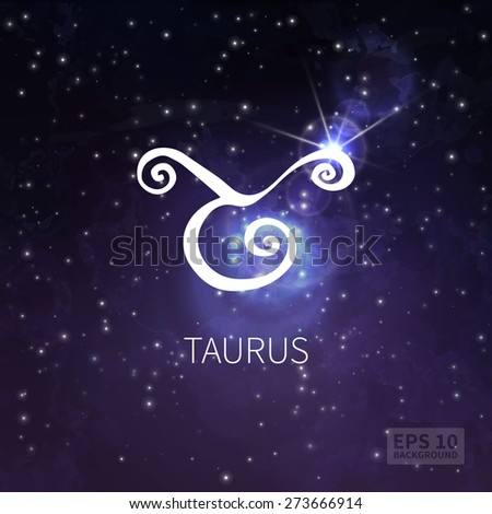 Vector background universe (texture). Taurus zodiac. Stars and sky