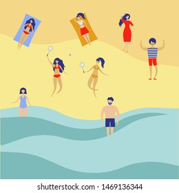 Vector background with various peoples male, female playing on the beach. Summer outdoor activities. Sand beach and people on vacation sea illustration.