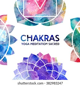 Vector background. Watercolor chakras on white background, colorful frame, bright texture. Perfect for yoga, spa, meditation practice, ayurveda invitations, greetings