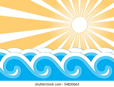 vector background with waves and sun