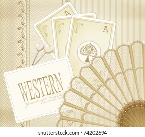 vector background in western style with the fan and playing cards