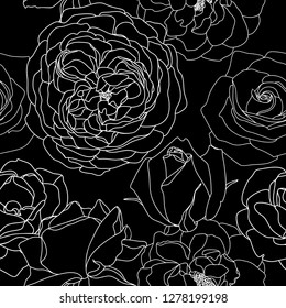 Vector background with white roses outlines. Hand drawn flower illustrations on black background. Floral seamless pattern