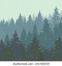 Vector background of wild coniferous forest in fog. Spruce forest on the hills dissolving on the horizon