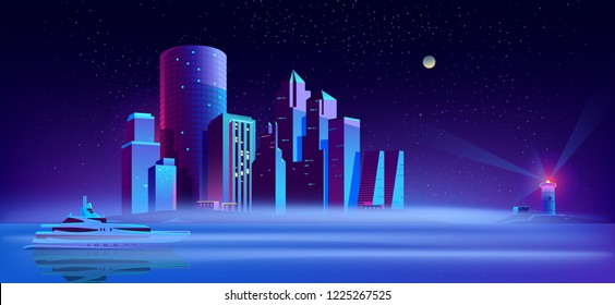 Vector background with yacht in sea, lighthouse and city on island. Purple megapolis on water, exterior with buildings, skyscrapers. Cartoon town in mist on night background. Pleasure boat in ocean.