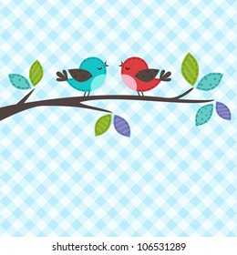 Vector backgrounds with couple of birds on the branch