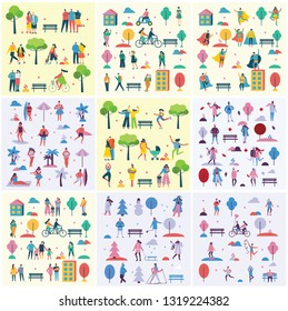 Vector backgrounds of different activities of people in all seasons outdoor- autumn, winter, spring and summer
