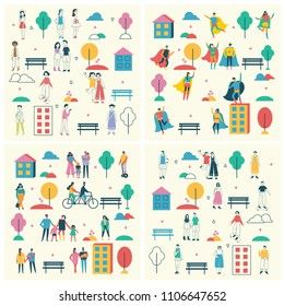 Vector backgrounds in flat design of group people and families outdoor in the park on weekend