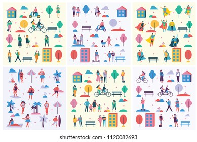 Vector backgrounds in flat design of group people characters doing different activities