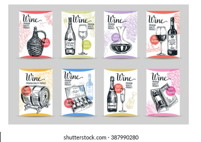 Vector backgrounds with hand drawn wine bottle, wine cask and wineglass. Winery illustration. Template design. Poster set.