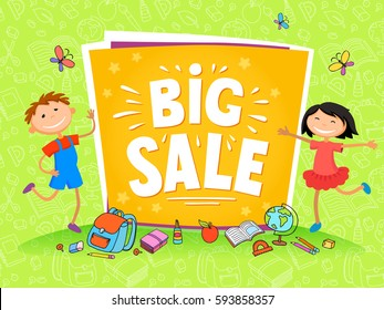Vector backgrounds horizontal banner with cartoon children. Spring bright summer design. two kids stay near banner big sale