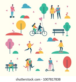 Vector backgrownd in flat design of group people outdoor in the park on weekend