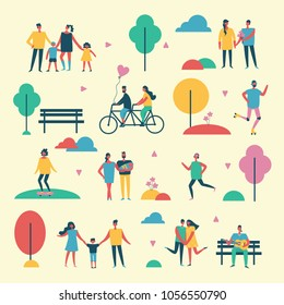 Vector backgrownd in flat design of group people and families outdoor in the park on weekend