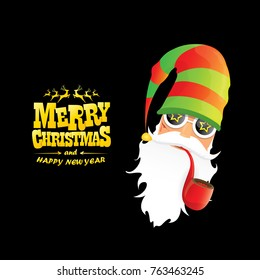 vector bad rock n roll dj santa claus with smoking pipe, beard and greeting gold christmas calligraphic text isolated on black background. Christmas rock hipster party poster background or invitation.
