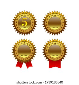 vector badge golden and red ribbon, waranty 5 years at white background