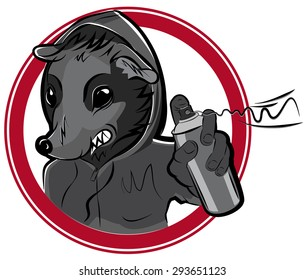 Vector badge with man rat graffiti illustration
