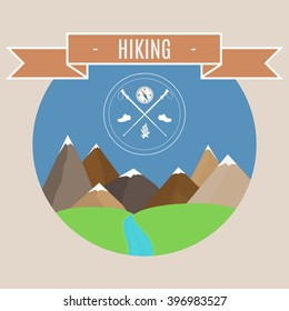 Vector badge - a mountain landscape. Vector illustration. Mountain peaks with emblem of hiking.