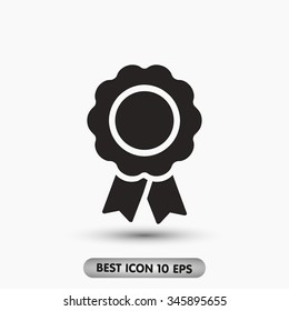 Vector badge with ribbons . vector icon 10 EPS