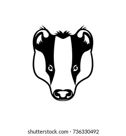 Vector badger head, face  for retro hipster logos, emblems, badges, labels template and t-shirt vintage design element. Isolated on white background