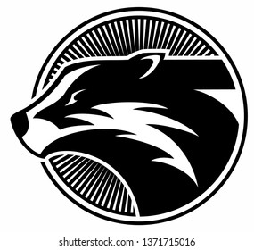 Vector badger head, badger logo, isolated on white background.
