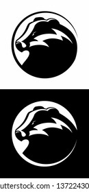 Vector badger head, badger logo, isolated on white and black background.