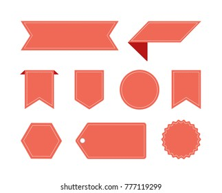 Vector Badges Labels and Stickers Set Red
