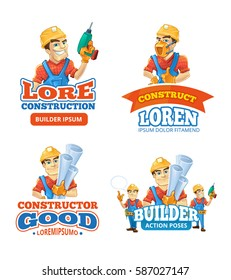 vector badges and logo set of builders or handymans in action poses with equipment and accessories isolate on white background