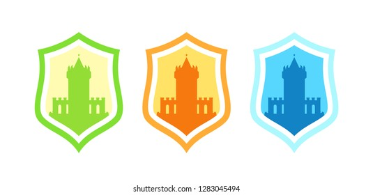 Vector Badges with medieval stronghold castles different colors isolated on white. Logo design with coat of arms and fortress for business.