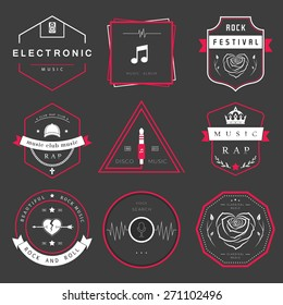 Vector badges rock music, rap, classical and electronic music. Vector logos festivals and concerts, elements of web design and voice search, prints for T-shirts.