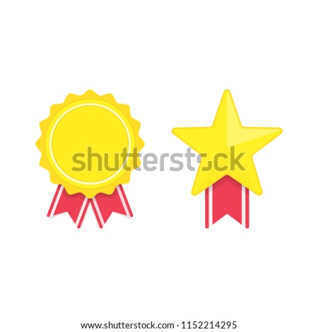Vector badges template isolated on white stock vector royalty free vector badges template isolated on white background award badge icons in flat style golden maxwellsz