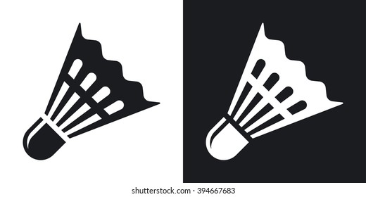 Vector badminton shuttlecock icon. Two-tone version on black and white background