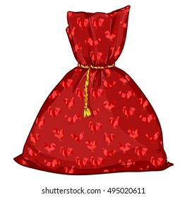 vector bag. Illustration of a Christmas bag. Santa Claus red bag