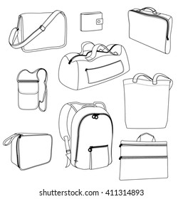 Vector bags. Black outline on white background. Sports bag, backpack, beach bag, portfolio