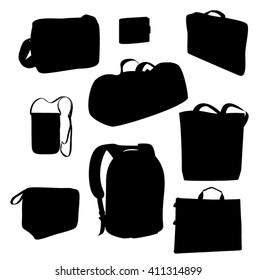 Vector bags. Black silhouette on white background. Sports bag, backpack, beach bag, portfolio