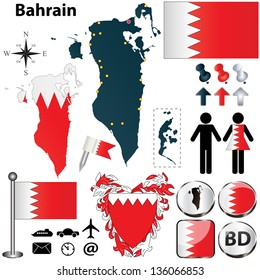 Vector of Bahrain set with detailed country shape with region borders, flags and icons