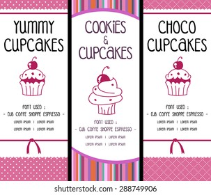 vector bakery cookie and cupcake banner with pink soft background