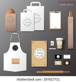 Vector bakery corporate branding identity template design set. Take away mock up