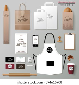 Vector bakery corporate branding identity template design set. Take away mock up