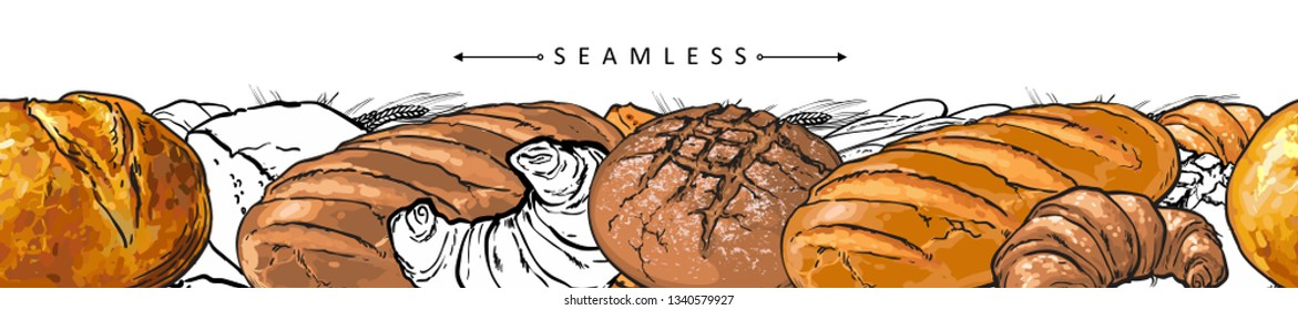 Vector bakery products package seamless pattern background with white, brown bread loafs, french croissant, baguette. Pastry food sketch elements backdrop.